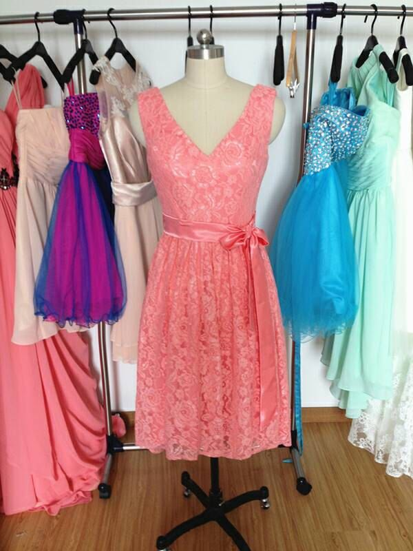Short Coral Bridesmaid Dress,Cheap Lace Bridesmaid Dresses, V-neck Wedding Party Dress 2015 by PromDressHeaven on Etsy https://www.etsy.com/listing/222605697/short-coral-bridesmaid-dresscheap-lace