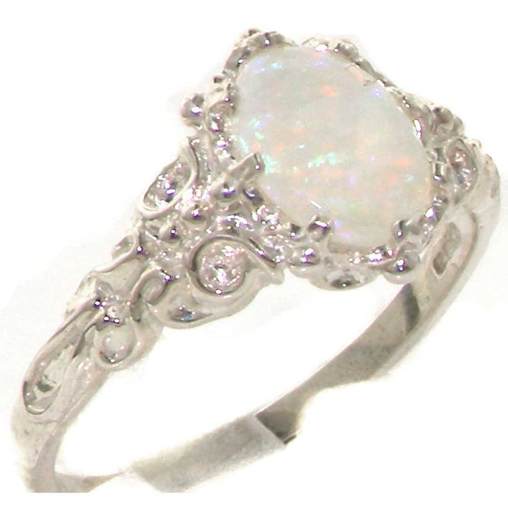 Amazon Luxurious Solid Sterling Silver Natural Opal Womens Solitaire Ring