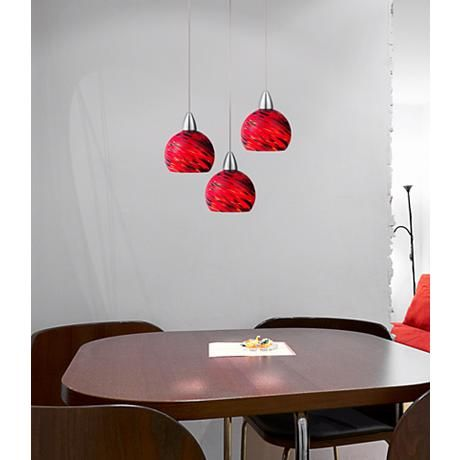 An energy efficient led pendant light fixture with warm red art glass and a shining chrome finish style at lamps plus
