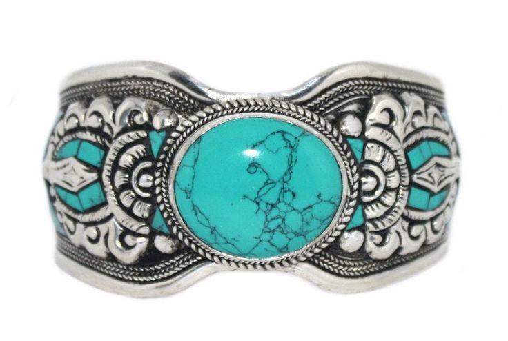 Turquoise Bracelet Boho Bracelet Gypsy Bracelet Tribal Bracelet Adjustable Cuff Bracelet BB159