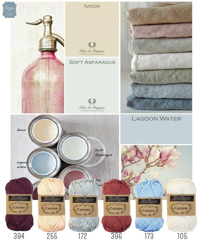 Color inspiration Rose quartz & Serenity. Scheepjes Catona. Henja: online garenwinkel