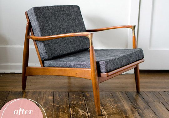I have a similar chair I need to reupholster.  - Before and After: A Retro Chair Gets Sexy | Apartment Therapy