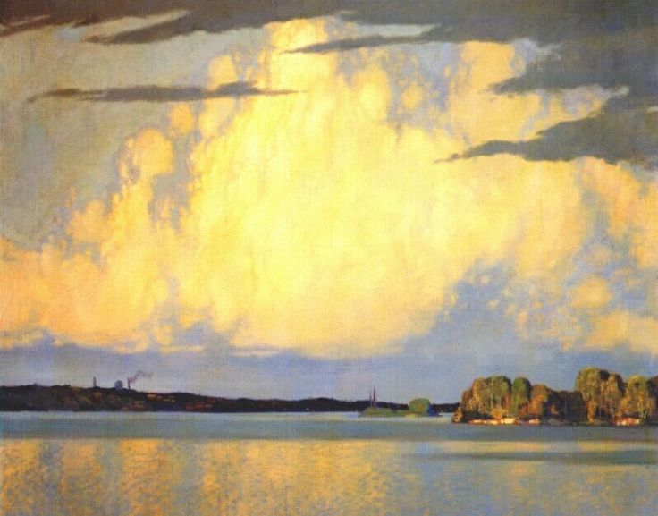 Serenity Lake of the Woods (1922) by Frank H. Johnston, one of Canada's famous Group of Seven painters