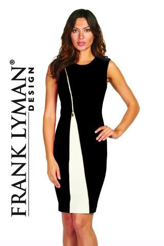 Frank Lyman 2017. Flattering zipper dress in black/off white. Proudly Made in Canada.