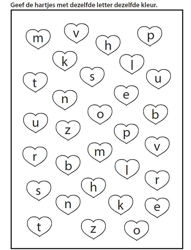 Geef de hartjes met dezelfde letter dezelfde kleur [yurls.net]