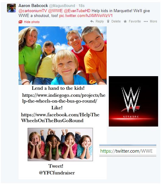 I posted our pet sign all over. I even posted it to WWE's Twitter. I love thinking outside the box!