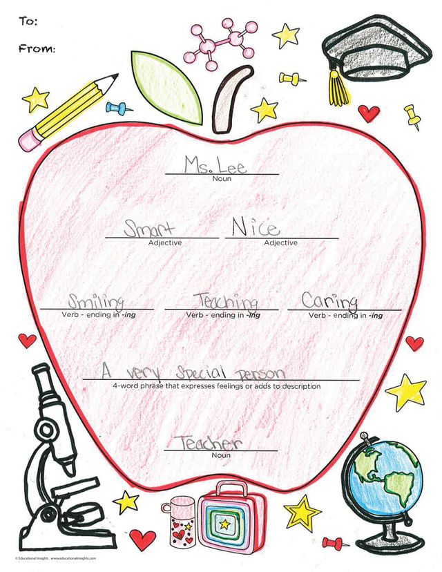 This is a graphic of Geeky Teacher Appreciation Template