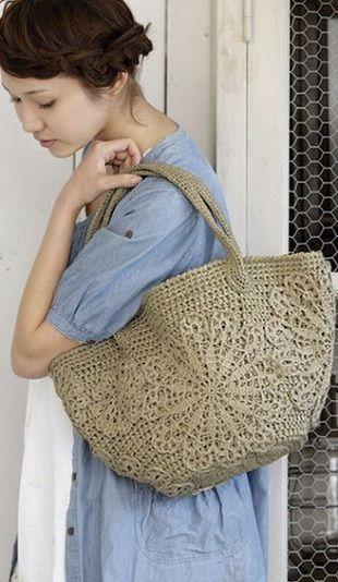 Bag with appliqué crochet