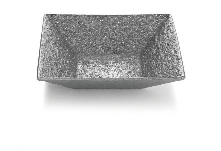 Square Block Serving Bowl, Silver