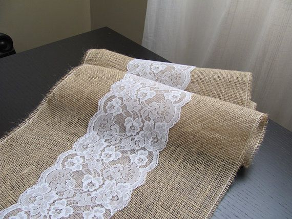 Lace & Burlap Table Runner - Wedding / Event Supplies op Etsy, 8,91 €