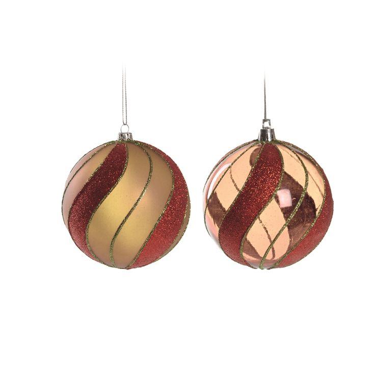 Enfeite Bola de Natal Vermelho com Faixas Ouro para Pendurar 8cm 6