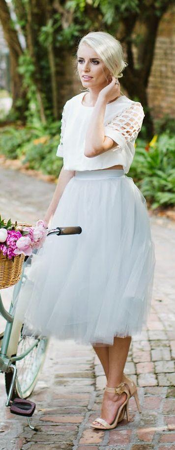 Grey Tulle Skirt Retro Style