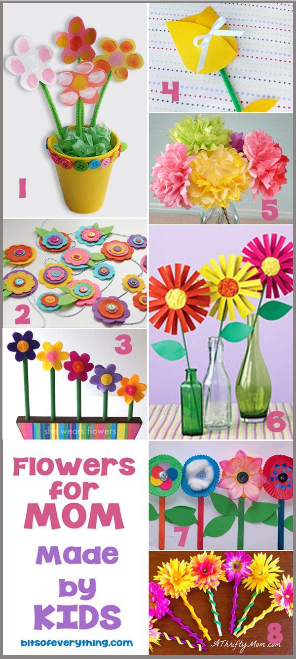 Flower Crafts For Mom #mothersday #kids #crafts blog.bitsofeverything.com