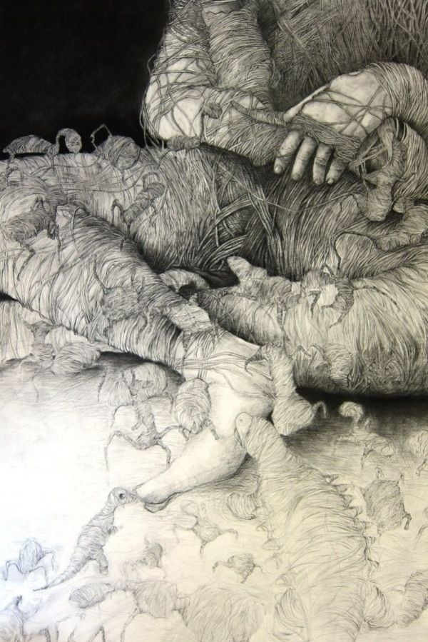 Charcoal drawings by David Griessel, via Behance