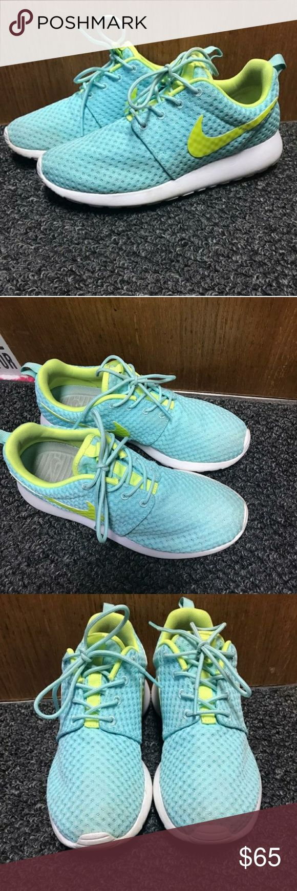 Nike Roshe Breeze Barely worn, only selling because they're a size too big. Tiffany Blue and Volt Green. Nike Shoes Athletic Shoes