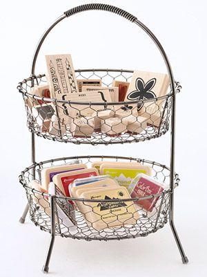 AQ's own 2 Tiered Chicken Wire Basket used a stamp pad organizer.