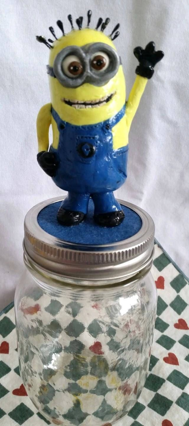 minion jar, money jar, change jar, trinket jar, home and living, home decor, ornaments and accents, ornaments, table decor, handmade minion by BloominClay on Etsy