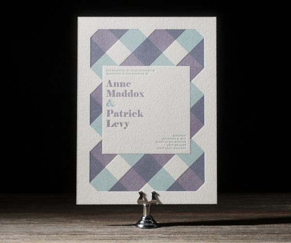 chequered letterpress invitation
