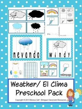 Weather/ El Clima theme Unit is in both English and Spanish. The 135 page download is full of learning!