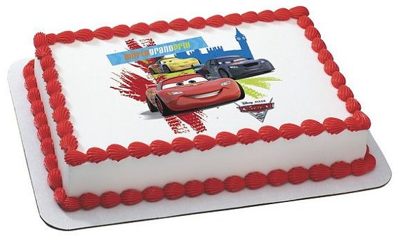 Disney Cars Grand Prix Edible Image Cake Topper Birthday Party Supplies