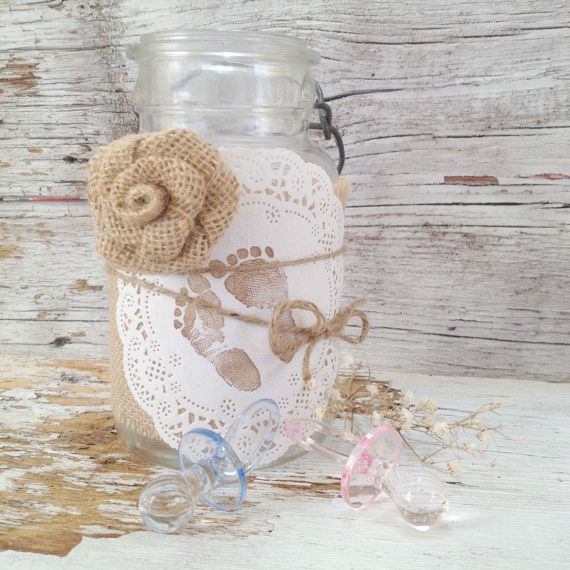 Vintage Baby Shower Decor for 5 Jars Shabby by DenaDanielleDesigns
