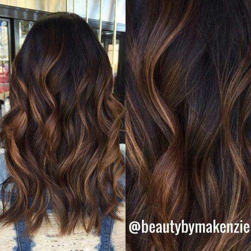 brown hair, chocolate brown hair, waves, balayage, low lights.
