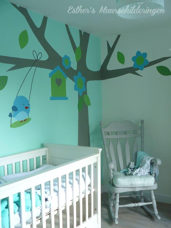 Muurschildering boom voor de babykamer of kinderkamer. Geïnspireerd vanaf het geboortekaartje. Bekijk ook mijn Facebookpagina:  https://www.facebook.com/esthersmuurschilderingen/