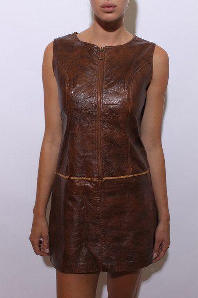 60er Jahre braun Leder Mini Kleid ärmellos Umb notleidenden getragen in Reißverschluss Weltraumzeitalter UMSCHALT Tropfen Taille Echtleder S M go