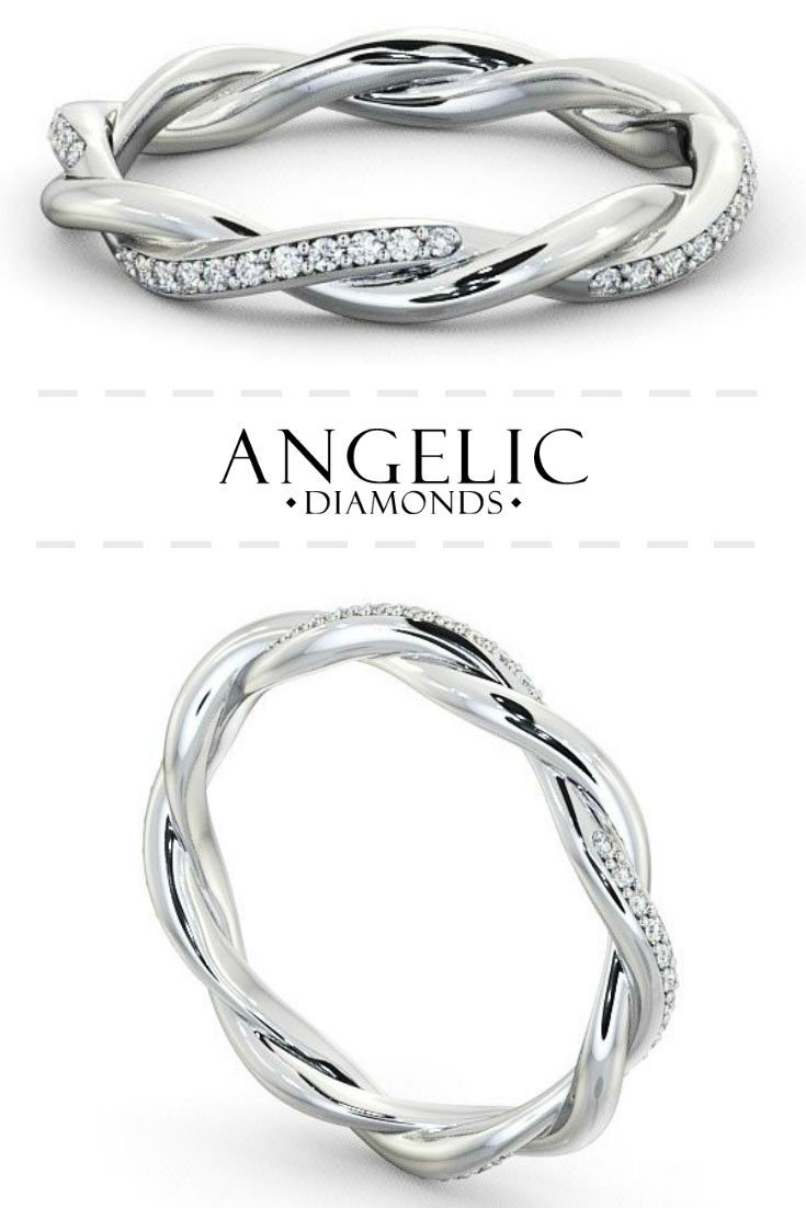 Round Diamond Wedding Ring in Platinum | This unique wedding ring for the bride features beautiful round diamonds set into a twisted platinum ring. #AngelicDiamonds #Wedding #WeddingRing #EternityRing #DiamondRing #WhiteGoldRing #Diamond #Diamonds #Jewellery #Jewelry #Ring #Gold #GoldRing #GoldJewellery #GoldJewelry