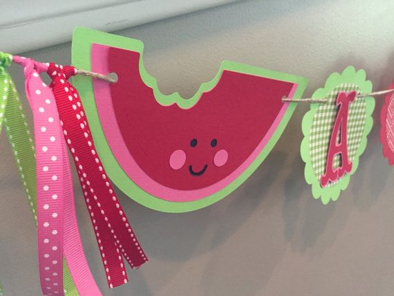 Watermelon Birthday Banner Watermelon Party Toddler by TookiesLLC