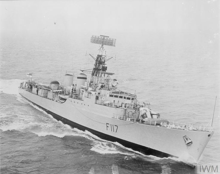 Frigate Tribal class, HMS Ashanti(F117) built by Yarrow of Scotstoun & launched 9/3/59. commissioned 23/11/61. the first commissioned Royal Navy warship to be equipped with combined steam and gas (COSAG) engines. Reclassified as a Harbour Training Ship in '81. '88 sunk as a target by submarines HMS Sceptre & Spartan.