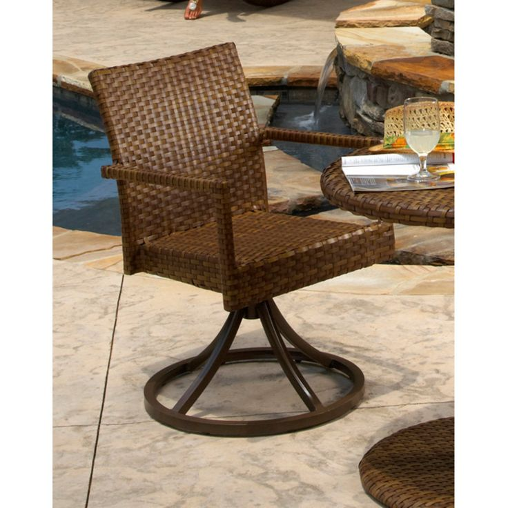 Outdoor Panama Jack St. Barths Stackable Swivel Dining Chair - Brown Pine with Viro Fiber - PJO-3001-BRN-SD