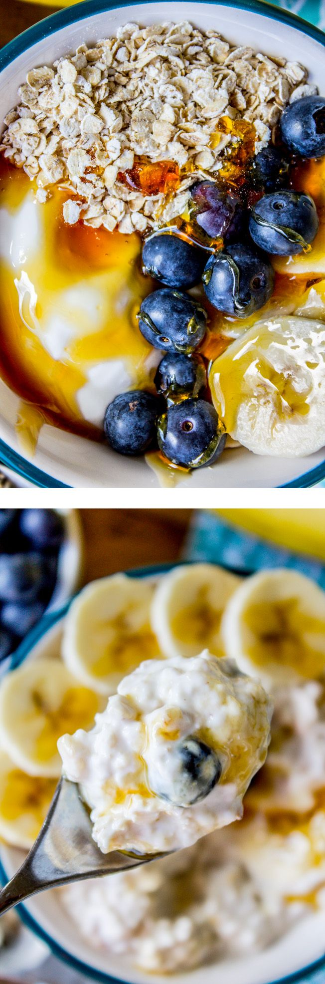 Combine quick oats with yogurt and let it sit overnight and you get a delicious and healthy treat for breakfast! I added banana, blueberries, and honey.