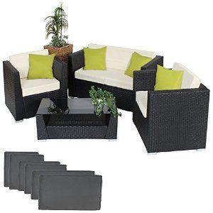 tectake luxury rattan aluminium garden furniture sofa set outdoor wicker with glass table black upholstery