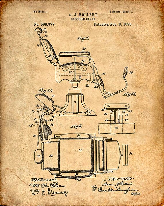 Barber's Chair Patent Print  Patent Art Print  by VisualDesign