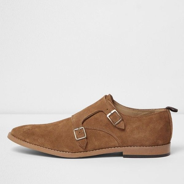 River Island Medium brown suede monk strap shoes ($62) ❤ liked on Polyvore featuring men's fashion, men's shoes, men's dress shoes, brown, shoes, mens brown monk strap shoes, mens brown shoes, mens monk strap dress shoes, mens brown dress shoes and mens monk strap shoes