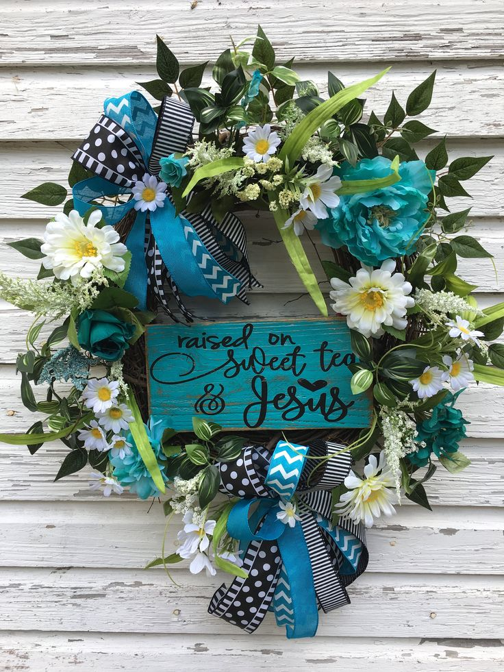 Aqua Grapevine Floral Wreath, Everyday Turquoise Wreath, Christian Grapevine, Door Decor, Christian Aqua Door Decor, Home Decorations by DivineDesignWreaths on Etsy