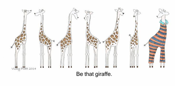 Week 38: Giraffe. Unipin fineliner and Copic markers. http://vicpratt.wix.com/vickypratt Find me on Facebook Vicky Pratt - Illustrator.