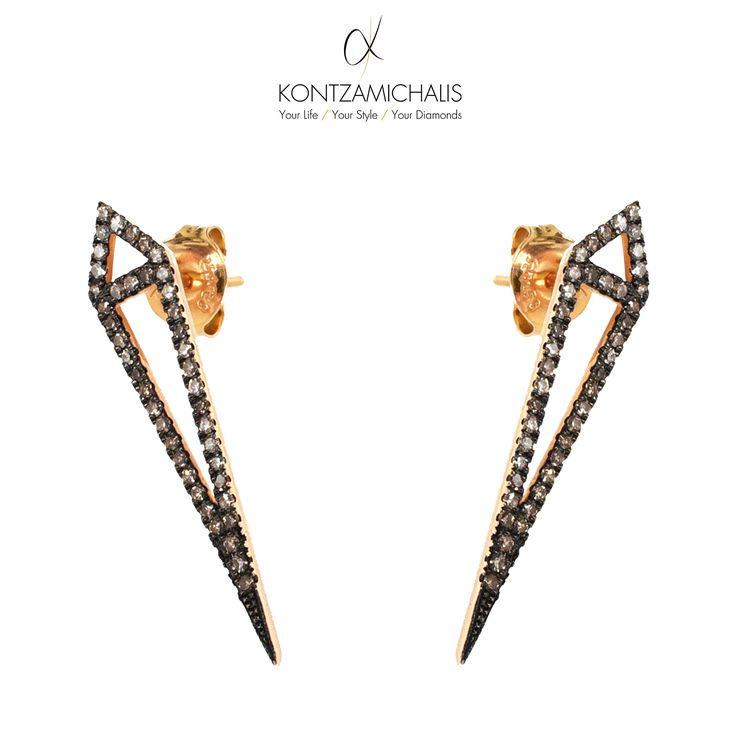 Decorated with brown diamonds, these #bohoCollection earrings are the epitome of simplicity and elegance. #KontzamichalisJewellery  Explore our boho collection: http://kontzamichalis.com/boho-2/