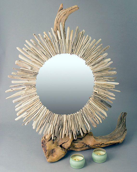 Sunburst Driftwood Mirror Large Round by RawEarthLLC on Etsy, $345.00