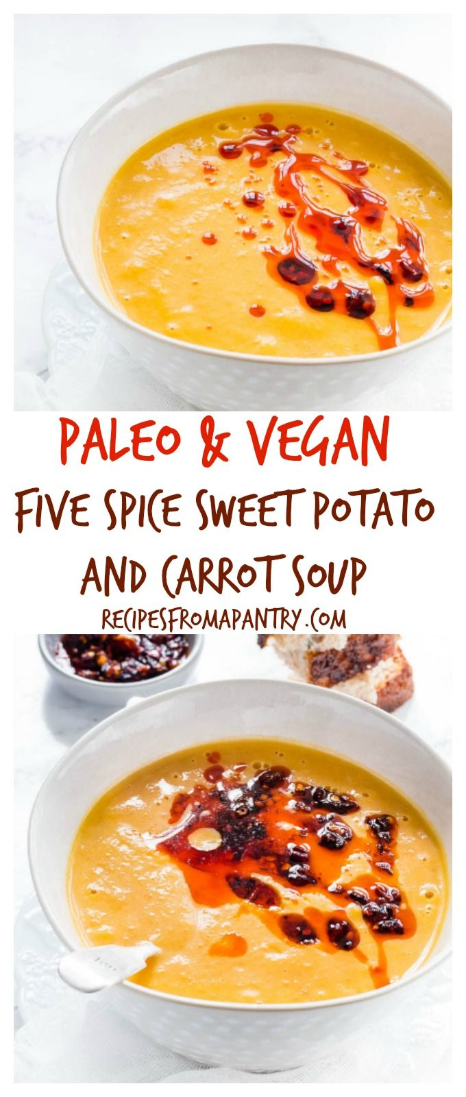 This easy Five Spice Sweet Potato and Carrot Soup is so thick, velvety and tasty. It is a vegan, gluten free, Whole 30 and paleo soup recipe too. #paleosoup #vegansoup #sweetpotatoandcarrotsoup #sweetpotatosoup #carrotsoup via @recipespantry