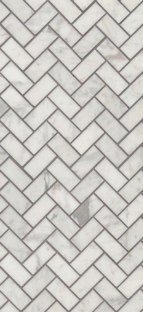 Beaumont Tiles > Carrara Bianco Herringbone Mosaic with white grout