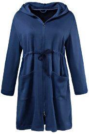 Ochtendjas - buitenkant jersey, binnekant fleece, zo soft als vacht! Capuchon, tunnelkoord in de taille, 2 zakken....