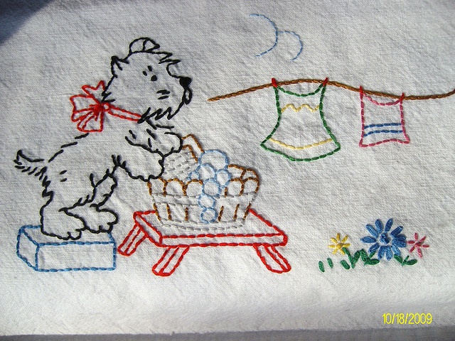 Scottie embroidery towel.  this was a craft my grandma taught me.  Kept me occupied on many a rainy day.