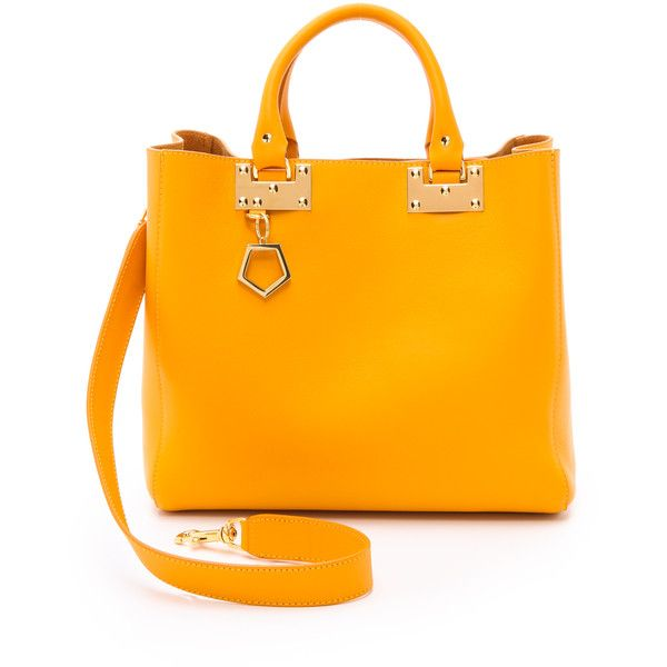 Sophie Hulme Adjustable Tote - Yolk (6.440 NOK) ❤ liked on Polyvore featuring bags, handbags, tote bags, leather tote purse, handbags totes, leather handbags, genuine leather tote and orange tote bag