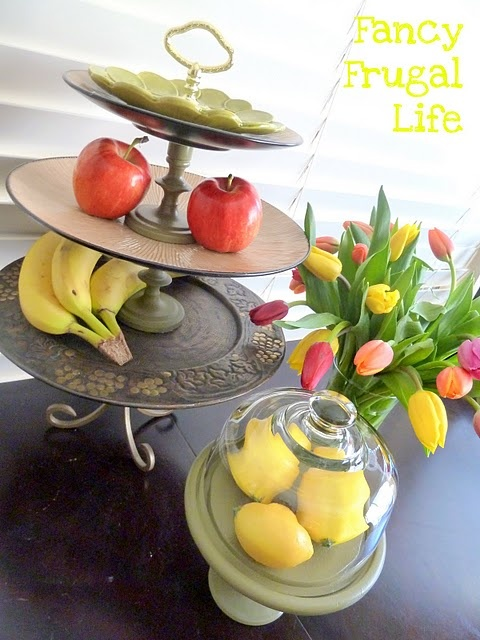 thrifty plates to fruit stand: Fruit Stands, Fruit Tiered, Candlesticks Holders, Candles Sticks, Tiered Stands, Crafts Projects, Crafty Peeps, Tiered Fruit, Thrifty Finding