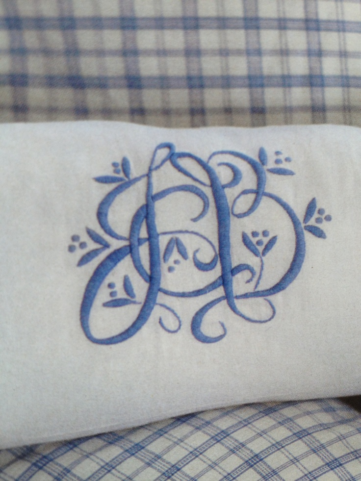 Lovely blue and white floral monogram