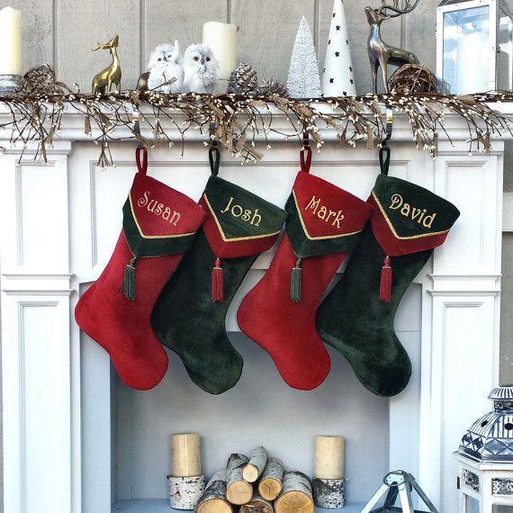 Designer Velvet Christmas Stockings V-Cuff Tassel  Custom