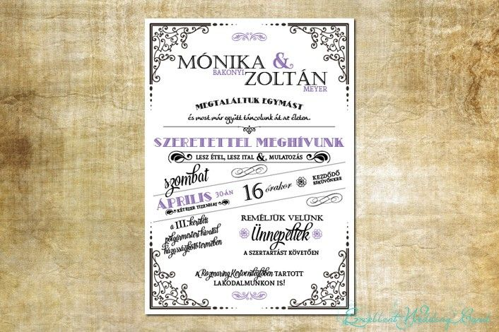 Vintage stílusú esküvői meghívó,lila,fehér és fekete színekben.