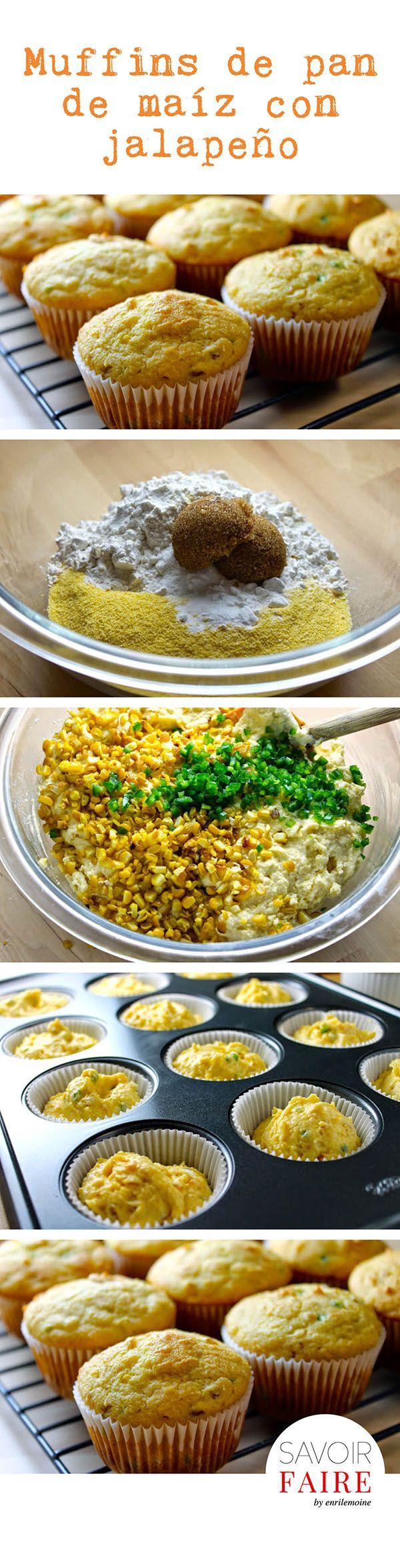 ¡Levanta la mano si te provocan estos muffins de pan de maíz con jalapeño y queso cheddar! Son perfectos para servir en Acción de Gracias. ¡Que los disfrutes!